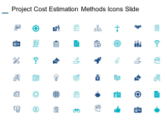 Project Cost Estimation Methods Icons Slide Ppt PowerPoint Presentation Professional Model