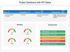 Project Dashboard With KPI Status Ppt PowerPoint Presentation Styles Design Ideas PDF