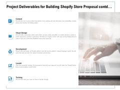 Project Deliverables For Building Shopify Store Proposal Contd Ppt PowerPoint Presentation Ideas Clipart Images