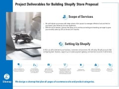 Project Deliverables For Building Shopify Store Proposal Ppt PowerPoint Presentation Professional Layout