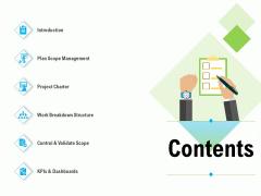 Project Deliverables Outline Contents Ppt Slides Images PDF