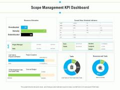 Project Deliverables Outline Scope Management KPI Dashboard Ppt Layouts Design Inspiration PDF