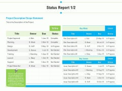 Project Deliverables Outline Status Report Due Ppt Styles Guidelines PDF