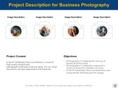 Project Description For Business Photography Ppt PowerPoint Presentation Infographics Backgrounds