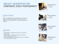 Project Description For Corporate Event Photography Ppt PowerPoint Presentation File Files