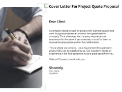 Project Estimate Cover Letter For Project Quote Proposal Ppt Summary Influencers PDF