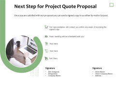 Project Estimate Next Step For Project Quote Proposal Ppt File Designs Download PDF