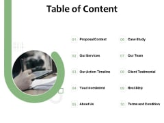 Project Estimate Table Of Content Ppt Pictures Microsoft PDF