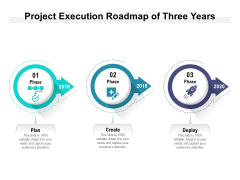 Project Execution Roadmap Of Three Years Ppt PowerPoint Presentation Portfolio Show PDF
