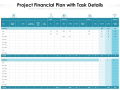 Project Financial Plan With Task Details Ppt PowerPoint Presentation Infographic Template Graphics Tutorials PDF