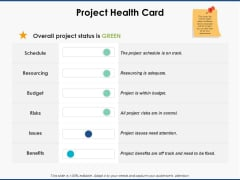 Project Health Card Business Ppt PowerPoint Presentation File Themes