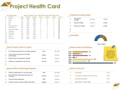 Project Health Card Ppt PowerPoint Presentation Icon Topics