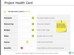 Project Health Card Ppt PowerPoint Presentation Infographic Template Aids