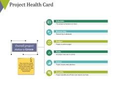 Project Health Card Ppt PowerPoint Presentation Inspiration Graphic Tips