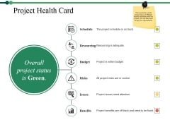 Project Health Card Ppt PowerPoint Presentation Summary Tips