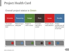 Project Health Card Template 1 Ppt PowerPoint Presentation Diagrams