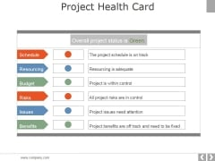 Project Health Card Template 2 Ppt PowerPoint Presentation Template