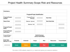 Project Health Summary Scope Risk And Resources Ppt PowerPoint Presentation Professional Maker