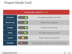 Project Heath Card Ppt PowerPoint Presentation Visuals