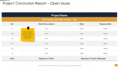 Project Ideation And Administration Project Conclusion Report Open Issues Pictures PDF