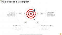 Project Ideation And Administration Project Scope And Description Ppt Icon Designs PDF