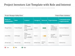 Project Investors List Template With Role And Interest Ppt PowerPoint Presentation Gallery Outfit PDF
