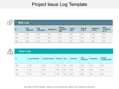 Project Issue Log Template Ppt PowerPoint Presentation Icon Influencers