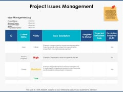 Project Issues Management Ppt PowerPoint Presentation Gallery Design Ideas