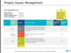 Project Issues Management Ppt PowerPoint Presentation Infographics Objects