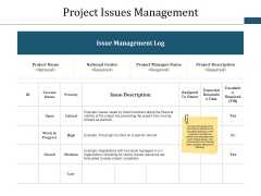 Project Issues Management Ppt PowerPoint Presentation Layouts Good