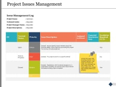 Project Issues Management Ppt PowerPoint Presentation Slides Graphics Tutorials
