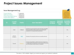 Project Issues Management Ppt PowerPoint Presentation Summary Layouts