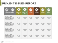 Project Issues Report Ppt PowerPoint Presentation Gallery Layout