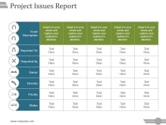 Project Issues Report Ppt PowerPoint Presentation Summary