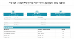Project Kickoff Meeting Plan With Locations And Topics Ppt PowerPoint Presentation File Format PDF