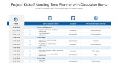 Project Kickoff Meeting Time Planner With Discussion Items Ppt PowerPoint Presentation File Clipart Images PDF