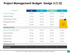 Project Management Budget Design Business Ppt PowerPoint Presentation Infographics Outline
