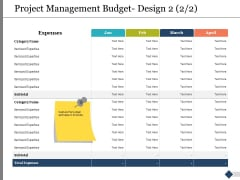 Project Management Budget Design Expenses Ppt PowerPoint Presentation Slides Picture