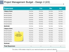 Project Management Budget Design Expenses Ppt PowerPoint Presentation Summary Vector