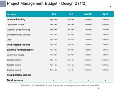 Project Management Budget Design Internal Funding Ppt PowerPoint Presentation Professional Guidelines
