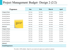 Project Management Budget Design Management Ppt PowerPoint Presentation Infographics Pictures