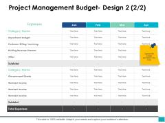 Project Management Budget Design Marketing Ppt PowerPoint Presentation Pictures Ideas