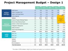 Project Management Budget Design Ppt PowerPoint Presentation Gallery Infographic Template