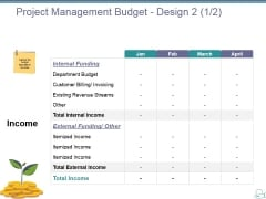 Project Management Budget Design Template 2 Ppt PowerPoint Presentation Pictures Structure