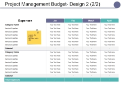 Project Management Budget Design Template Ppt PowerPoint Presentation Gallery Design Inspiration
