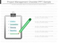 Project Management Checklist Ppt Sample