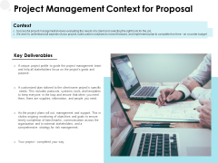 Project Management Context For Proposal Ppt PowerPoint Presentation Layouts Influencers