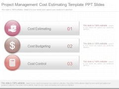 Project Management Cost Estimating Template Ppt Slides