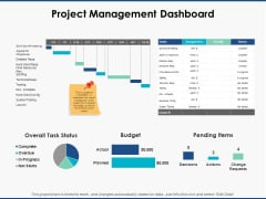 Project Management Dashboard Ppt PowerPoint Presentation Inspiration Background