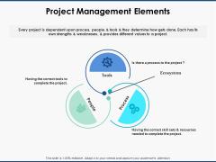 Project Management Elements Ppt PowerPoint Presentation File Designs Download